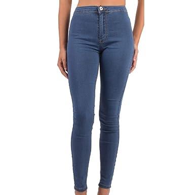 Jean Femme Skinny Taille Haute Bleu Jean Stretch Effet Gainant-  Amazon.fr   Vêtements et accessoires a74b20c9e111