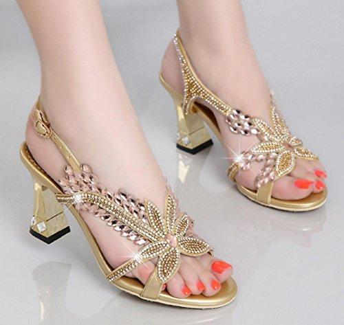 golden genuino moda oro de cuero CYGG mujer tacones sandalias versión pescado de gatito altos coreana imitación de diamantes boca sandalias tacón nwRSawPx