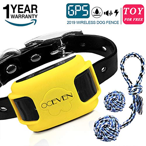 (OCEVEN Wireless Dog Fence System with GPS, Outdoor Invisible Pet Containment System Rechargeable Waterproof Collar EF851S, Yellow, for 15lbs-120lbs Dogs with 2pcs Toys for Free)
