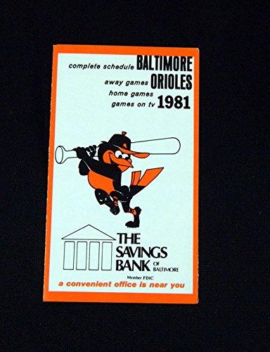 - 1981 Baltimore Orioles Savings Bank Baseball Pocket Schedule 112486S