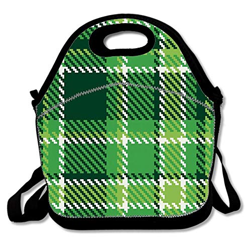 Checkered Old Fashioned Irish British Tile Boys Girls Kids Insulated School Travel Outdoor Lunch Tote Bag Cooler Box Neoprene Lunchbox Container Case ()