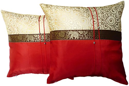 Set of Two Aurora Red Silk Throw Cushion Pillow Cover Case With Elephant Middle Stripe for Decorative Living Room Sofa Car Size 16 x16 Inches (And Gold Red Accent Pillows)