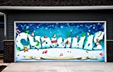 Holiday Billboard for 2 Car Garage Door Christmas Garage Door Decorations Full Color Covers Banners Outdoor Murals size 82x188 inches Christmas House Decor DAV120