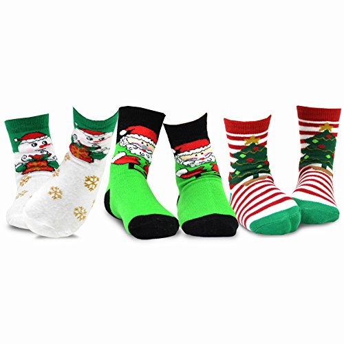 TeeHee Christmas Kids Cotton Fun Crew Socks 3-Pair Pack (6-8Y, Santa Clause Snowman)