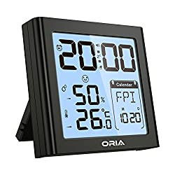ORIA Digital Hygrometer Thermometer, Indoor Humidity Monitor, Alarm Clock with Temperature, Large LCD Screen Gauge Indicator, ℃/℉ Switch, for Home, Office, Bedroom, Kitchen