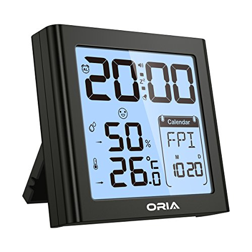 (ORIA Digital Hygrometer Thermometer, Indoor Humidity Monitor, Alarm Clock with Temperature, Large LCD Screen Gauge Indicator, ℃ and ℉ Switch, for Home, Office, Bedroom, Kitchen )