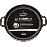 14 inch round griddle - 14-inch Cast Iron Pizza Pan, Pre-Seasoned Crispy Crust Round Oven Griddle with Handles for Grilling, BBQ, Baking