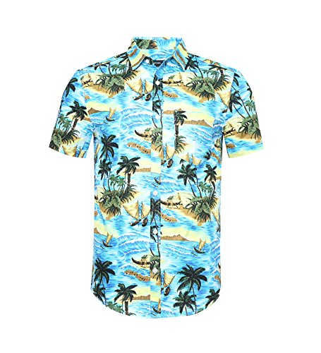 - NUTEXROL Men's Standard-Fit 100% Cotton Palm Tree Beach Print Hawaiian Shirt 528Blue S
