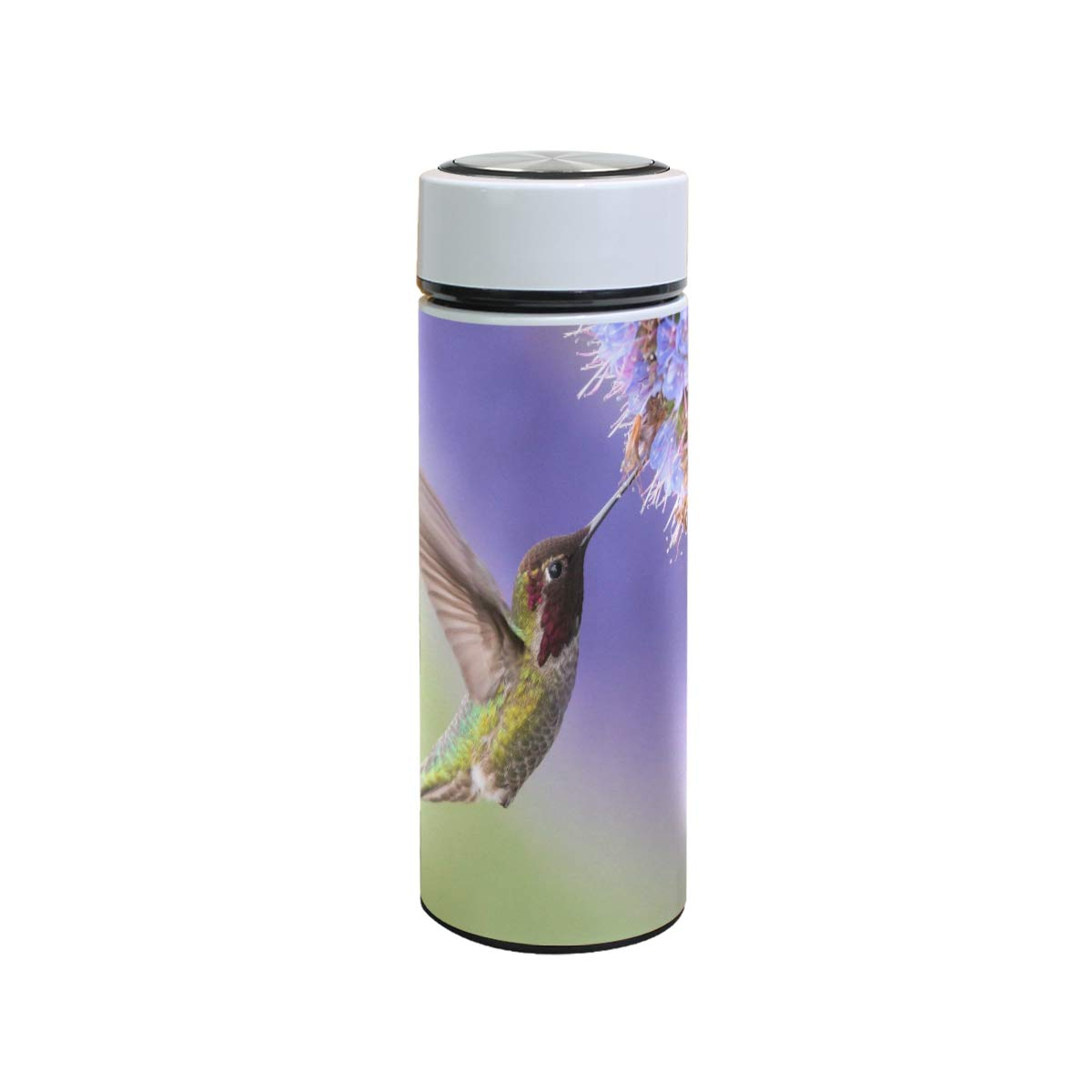XiangHeFu Stainless Steel Keep Cold or Hot Leak Proof Thermos Hummingbird and Flower Travel Mug Insulated Water Bottle