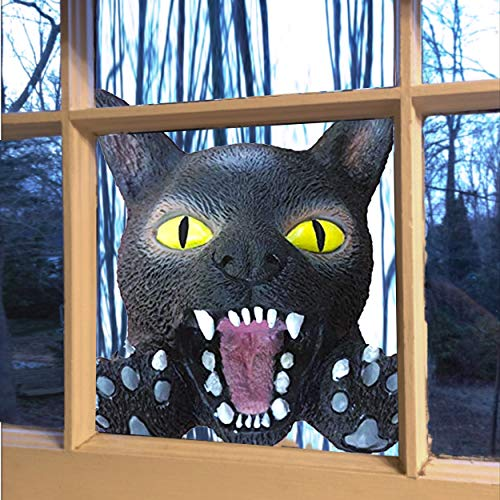 Scary Cats For Halloween (Scary Peeper Window Hanging Mask - Indoor / Outdoor -  Great for Halloween, Haunted House Party Scares, Tricks, and Pranks  - Black)