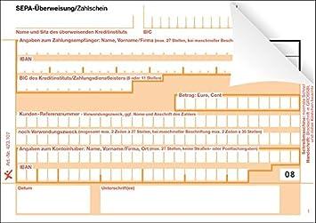500 SEPA-Überweisung/Zahlschein, einzeln, 2-fach, rechts verleimt ...