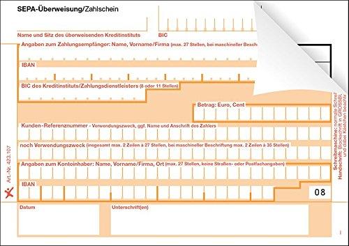 500 SEPA-Überweisung / Zahlschein, einzeln, 2-fach, rechts verleimt