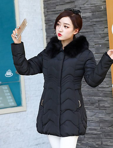 BLACK Simple Large Patchwork 2XL Size Hooded YRF Padded Size Slim Plus Women's Long Coat Sleeve Fashion 6vawH4q