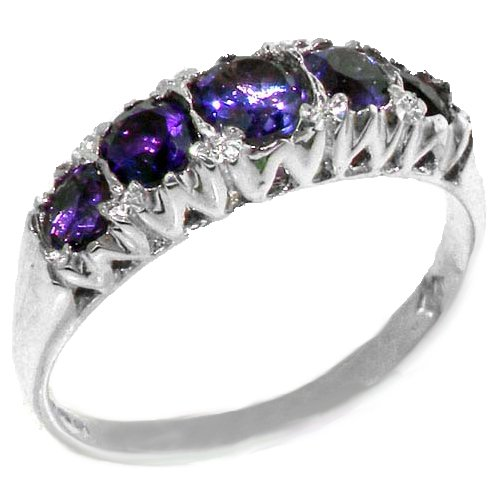 925 Sterling Silver Natural Amethyst Womens Band Ring   Sizes 4 To 12 Available