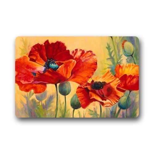 Hey Poppy - Hey! May Poppy Flower Art Painting Custom Machine Washable Non-Slip Indoor Outdoor Doormat Cover,23.6(L) x 15.7(W) Inch