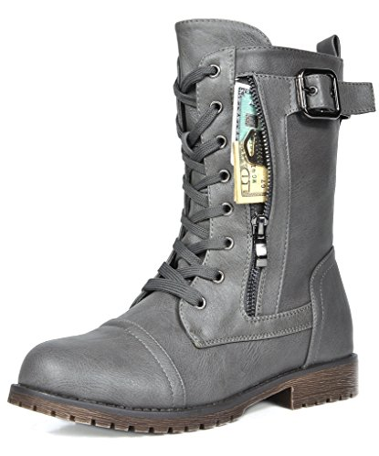 Boots Military Lace (DREAM PAIRS Women's Mission Grey Combat Mid Calf Boots Size 8.5 B(M) US)