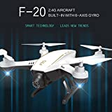 Dirance F20 2.4G 4CH RC Quadcopter Drone, WiFi 2.0MP Optical Flow Dual Wide Angle Camera Helicopter, Headless Mode & Altitude Hold & 3D Flips (A)