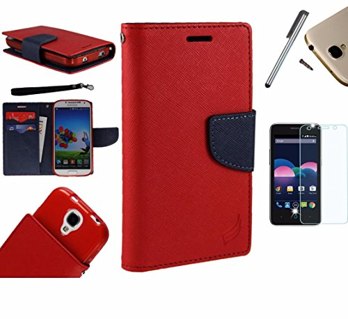 For LG Optimus Zone 3 Phone Case (Verizon) PU Leather Flip Cover Folio Book Style Pouch Card Slot Wallet+LCD Screen Protector+Stylus (Red/Navy Blue)