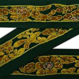 Vintage Saree Border Ethnic Dark Green Embroidered Dress Making Craft Trim