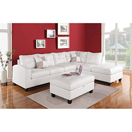 ACME Kiva Bonded Leather Sectional in White