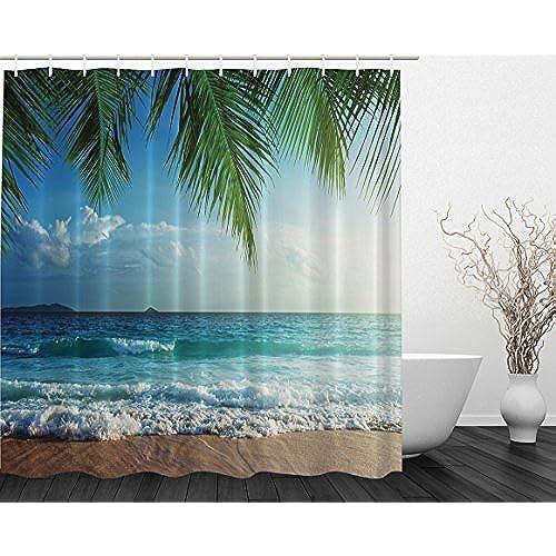 Island Beach Decor Maldives High Resolution Photography Home Postcard Bathroom Textile Leisure Traveler Explorer Print Fabric Shower Curtain