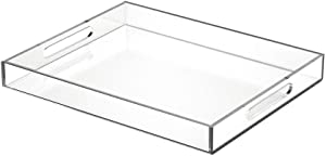 NIUBEE Acrylic Serving Tray 11x14 Inches -Spill Proof- Clear Decorative Tray Organiser for Ottoman Coffee Table Countertop with Handles