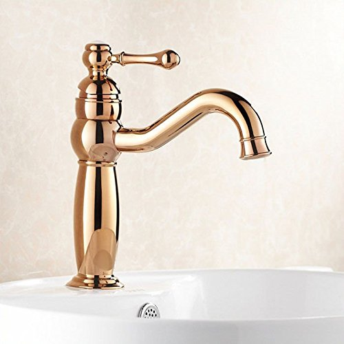 Gyps Faucet Basin Mixer Tap Waterfall Faucet Antique Bathroom Mixer Bar Mixer Shower Set Tap antique bathroom faucet The copper, gold-plated bathroom single handle single hole 360° redation and cold
