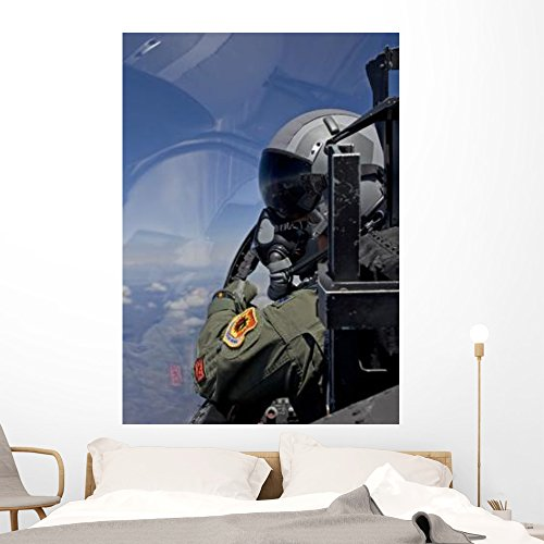 F-15 Pilot Looks over Wall Mural by Wallmonkeys Peel and Stick Graphic (60 in H x 42 in W) WM38365