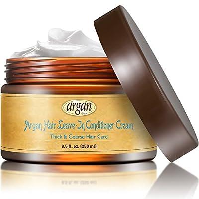 Leave In Conditioner Argan Hair Cream - Thick to Extra Coarse Ethnic Hair Moisturizer 8.5 oz - Moroccan Oil Anti Frizz Moisturizing Volume Control Rich Moisture Hydration