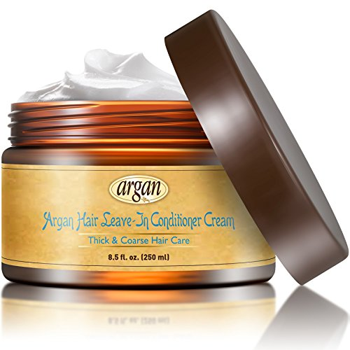 Vitamins Leave In Conditioner Cream - Ethnic Coarse Thick Dry Damaged Hair Repair. Anti Frizz Hair Moisturizer Moroccan Argan Oil Curl Defining Cream