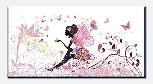wandmotiv24 Cuadro en Lienzo Mariposa de Hadas 100x50cm (Ancho x Alto) Foto panoramica Foto Lienzo Mural Foto Regalos Flores de Mariposas de Elfo M0438
