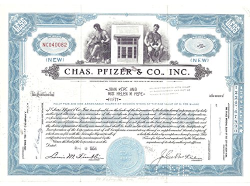 stock-certificate-1954-chas-pfizer-co-inc