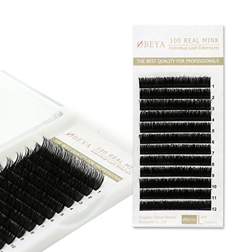 OBEYA 2 Trays Individual Mink Lashes Extension Natural Eyelashes Individual Lashes 3D Mink Fur Eyelash Extension C/D Curl Mixed Length(8mm/10mm/12mm/14mm)