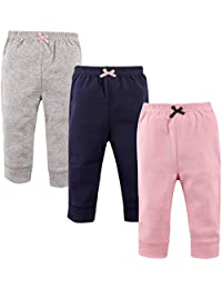 'Luvable Friends Baby Girls 3 Pack Tapered Ankle Pants, Light Pink,Navy,Grey, 9-12 Months'
