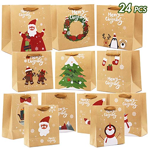 Large Christmas Bags (Lulu Home Christmas Gift Bags with Handle, 24 Pieces Kraft Bags with Assorted Christmas Prints, Xmas Gift Bags Large, Medium and Small for Gifts)