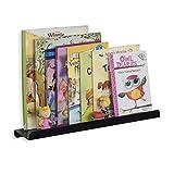WALLNITURE Metal Wall Mount Floating Nursery Shelves Book Display 17 Inch Black