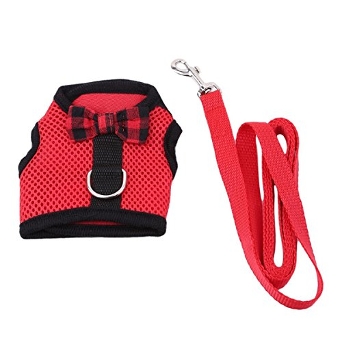 Harness No Pull Cat Leash Stylish Vest Harness for Small Animal Adjustable Soft Breathable Walking Harness Set (RED, S) ()
