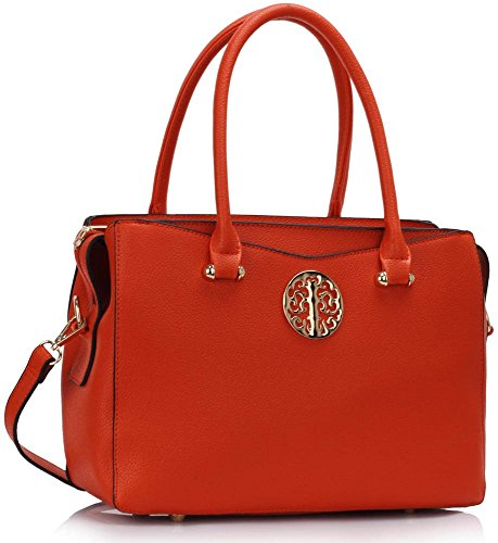 Bags CWS00291 Tote Elegant Ladies Handbag Orange College Tote Designer Grab Trendy Women's Fashion School t7xnHqwI