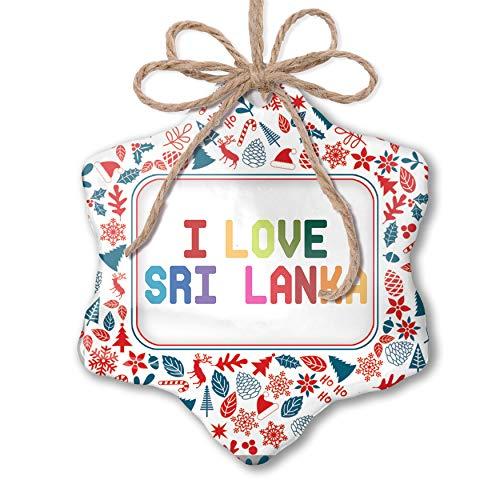 NEONBLOND Christmas Ornament I Love Sri Lanka,Colorful Red White Blue Xmas