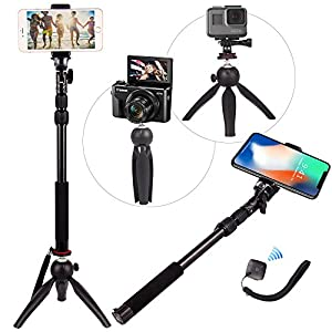 Zuumo HEAVY DUTY Premium Selfie Stick Tripod Stand Best 3-in-1 Kit + Bluetooth Remote Universal Set: For ANY iPhone, Android, GoPro, Camera - iPhone X 8 7 6 S Plus Samsung Galaxy S9 S8 S7 S6 S5 Note