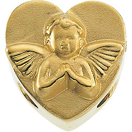 11.75x12.00 mm Heart Shaped Bracelet Slide with Angel in 14K Yellow Gold (Heart Shaped Bracelet Slide)
