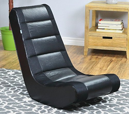 Video Rocker Watch Movies in Comfort, While Lounging in This Economical Video Rocker Chair, Set of 2 (Black/Black)