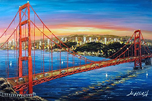 100% Hand Painted Golden Gate Bridge Sunrise Brilliant Orange San Francisco Bay Canvas Oil Painting for Home Wall Art by Well Known Artist, Framed, Ready to Hang