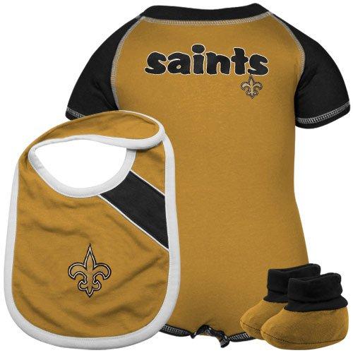 Reebok Infants Nfl Creeper - New Orleans Saints bib Creeper Bootie Set 18 Month Baby Infant