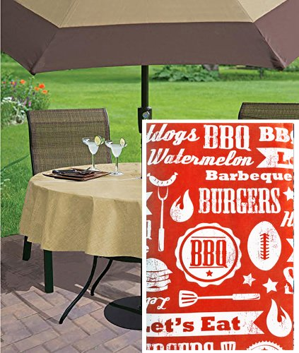 "Newbridge Low and Slow Barbecue Theme Vinyl Flannel Back Tablecloth, Summer Vinyl Indoor/Outdoor Patio Tablecloth, 70"" Zippered Umbrella Hole Round, Red"
