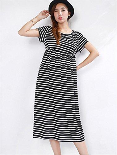 Unimommy Maternity Striped Dress Spring Summer Breastfeeding Nursing Long Clothes (Large, (Fancy Striped Pocket Dress Shirt)