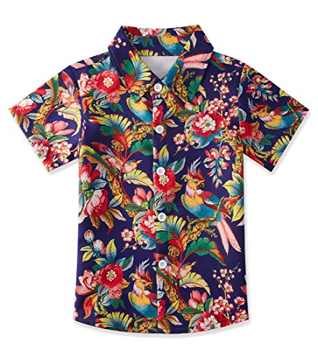 Tropical Floral Birds Dress Shirts for Child Beautiful Flower Button Down Tee Shirts Aloha Tops Blouse Size 7-8