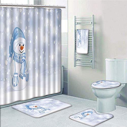 - Bathroom Fashion 5 Piece Set shower curtain 3d print,Winter,Kids Toddler Design Happy Snowman Cartoon Style Figure Merry Christmas Theme Decorative,,Bath Mat,Bathroom Carpet Rug,Non-Slip,Bath Towls