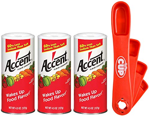 By The Cup Measuring Spoon Bundle - Accent Flavor Enhancer, 4.5 Ounce Shaker (Pack of 3) - with Exclusive By The Cup Swivel Measuring Spoons by By The Cup