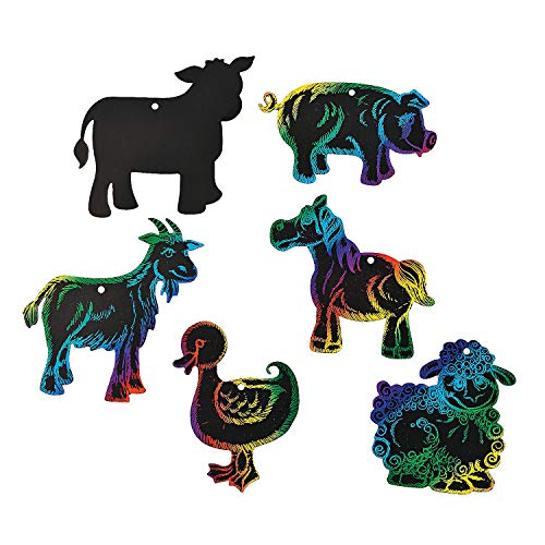 Fun Express - Farm Animal Magic Scratch - Craft Supplies - Magic Scratch - Ornaments - 24 Pieces